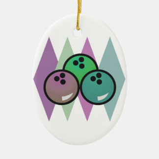retro bowling balls design Double-Sided oval ceramic christmas ornament