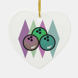 retro bowling balls design Double-Sided heart ceramic christmas ornament
