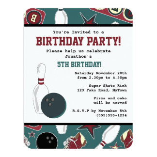 Retro Bowling Birthday Party Card