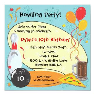 """Retro Bowling Birthday Party Invitation Card 5.25"""" Square Invitation Card"""