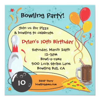 Retro Bowling Birthday Party Invitation Card