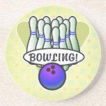 retro bowling design beverage coaster