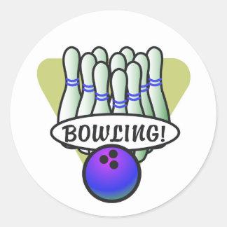 retro bowling design classic round sticker
