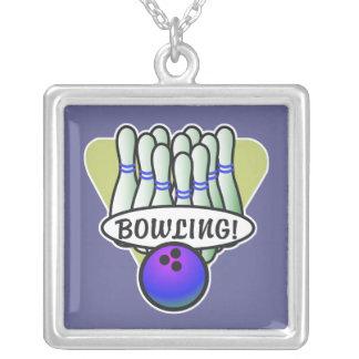 retro bowling design square pendant necklace