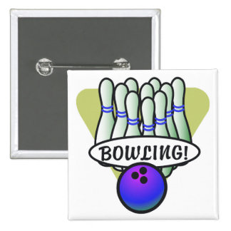 retro bowling design pinback button