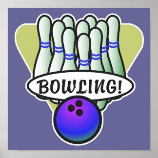 retro bowling design poster