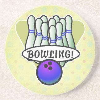 retro bowling design sandstone coaster
