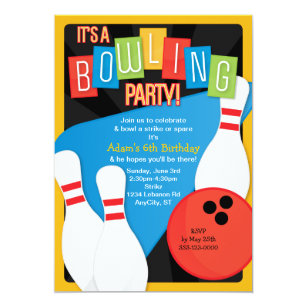 Retro Bowling Kids Birthday Party Invitation
