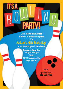 Kids bowling party invitations announcements zazzle retro bowling kids birthday party invitation filmwisefo
