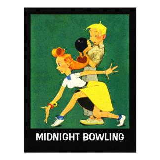 Retro Bowling Night Party Midnight Leag Invitation