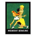 """Retro Bowling Night Party Midnight Leag Invitation 4.25"""" X 5.5"""" Invitation Card"""