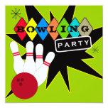 """Retro Bowling Party 5.25"""" Square Invitation Card"""
