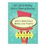"Retro Bowling Party 5"" X 7"" Invitation Card"