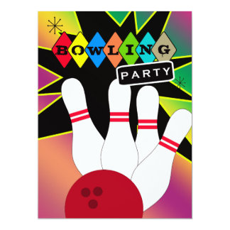 Retro Bowling Party Card