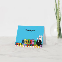 RETRO BOWLING PARTY Folded Thank you notes