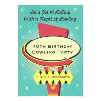 Retro Bowling Party 5x7 Paper Invitation Card
