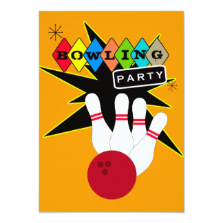 Retro Bowling Party 4.5x6.25 Paper Invitation Card
