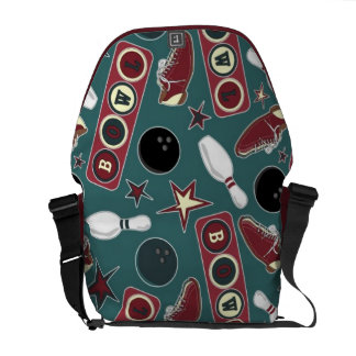 Retro Bowling Pattern Courier Bag