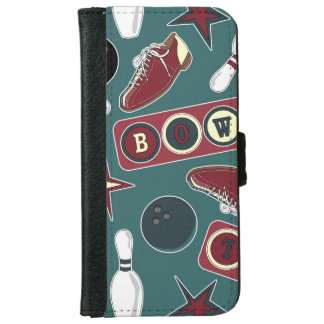 Retro Bowling Pattern iPhone 6/6s Wallet Case