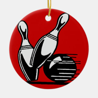 Retro Bowling Pins Customizable Ceramic Ornament
