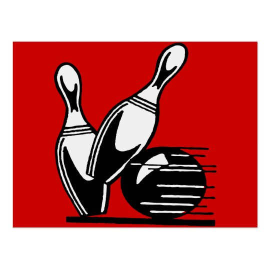Retro Bowling Pins Customizable Postcard