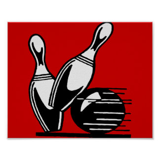 Retro Bowling Pins Customizable Poster