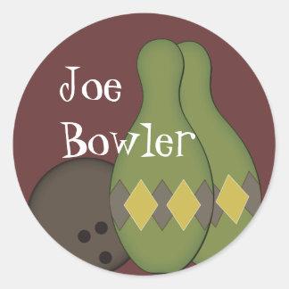 Retro Bowling Set Classic Round Sticker