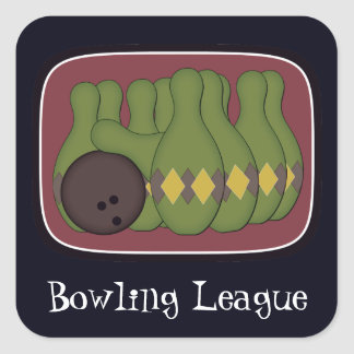 Retro Bowling Square Sticker