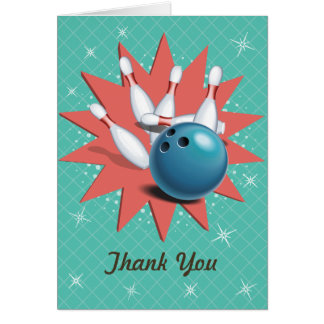 Retro Bowling Thank You Stationery Note Card