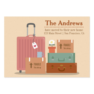 Retro Boxes and Suitcases New Home Announcements Large Business Card