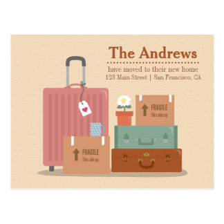 Retro Boxes and Suitcases New Home Announcements Postcard