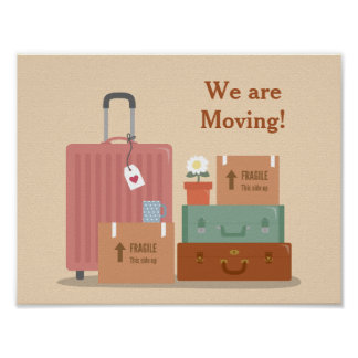 Retro Boxes and Suitcases We are Moving Poster