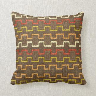Retro Boxy Pattern 70's Style Throw Pillow