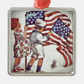 Retro Boy and Girl Waving Flags Metal Ornament