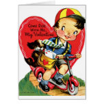 Retro Boy On Scooter With Puppy Valentine Cards