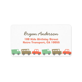 Retro Boy's Toys Fun Transport Birthday Address La Label