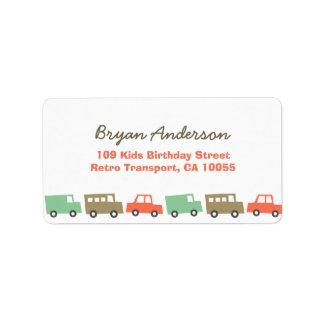 Retro Boy's Toys Fun Transport Birthday Address La Label