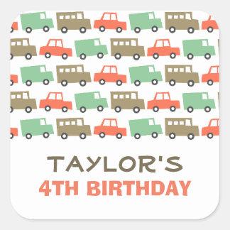 Retro Boy's Toys Fun Transport Birthday Sticker
