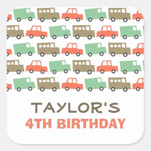 Retro Boy's Toys Fun Transport Birthday Sticker Square Sticker