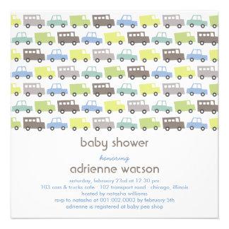 Retro Boys Toys Transport Baby Shower Invitation Custom Invites