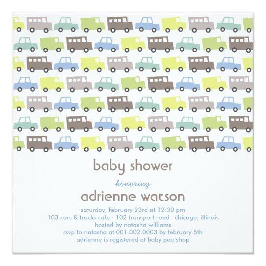 Retro Boys Toys Transport Baby Shower Invitation