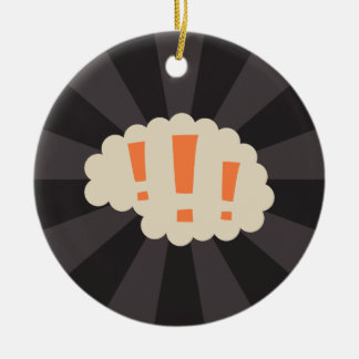 Retro brain with exclamation marks Double-Sided ceramic round christmas ornament