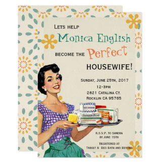retro 1950s perfect housewife bridal shower invite