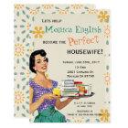 Retro Bridal Shower Invitation 1950's housewife