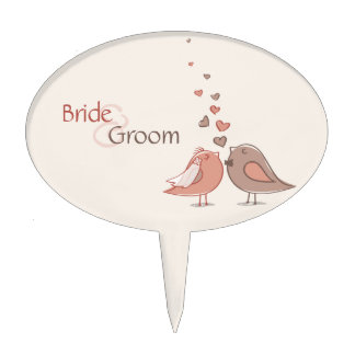 Retro Bride and Groom Birds Gifts Cake Topper