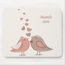 Retro Bride and Groom Birds Gifts Mouse Pad