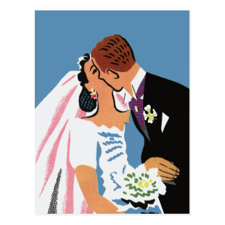 Retro Bride and Groom, Wedding RSVP Postcard