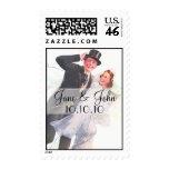 Retro Bride and Groom Wedding Stamps