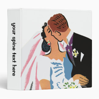 Retro Bride and Groom, You May Now Kiss the Bride 3 Ring Binder