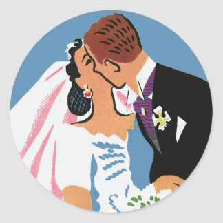 Retro Bride and Groom, You May Now Kiss the Bride Classic Round Sticker